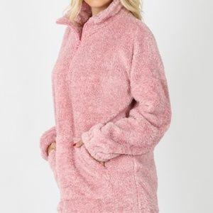 Zenana Outfitters Jackets & Coats - Faux Sherpa 1/4 Zip Fuzzy Pullover size Medium